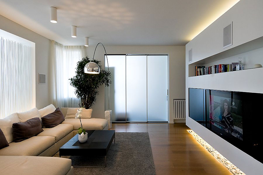 Luxury apartment by sl project in moscow russia for Minimalist apartment living room