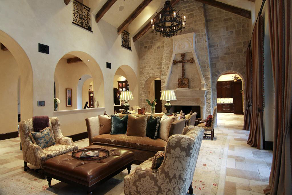 Opulent mediterranean style mansion in texas 6 for Mediterranean house interior design