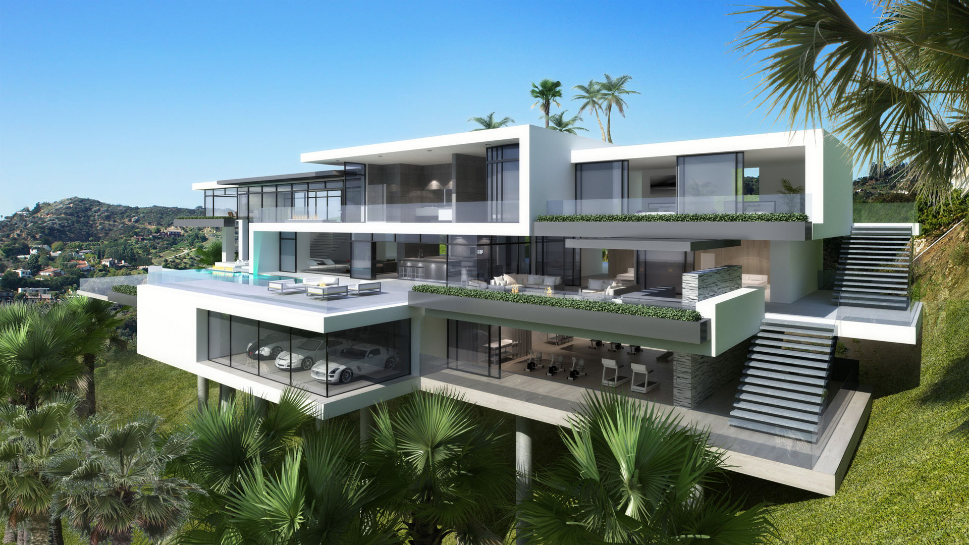Contemporary mansions on sunset plaza drive la for Maison ultra minimaliste