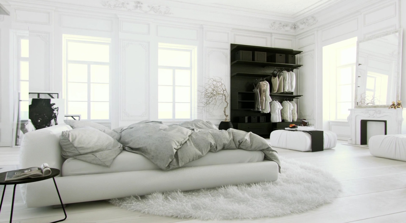 All white bedroom design ideas for 3 room design ideas